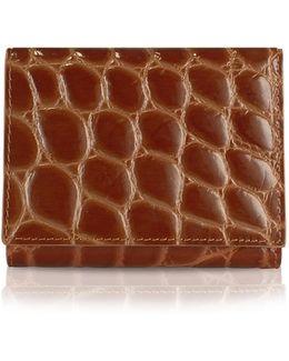 Spiga - Women's Brown Croc Stamped Calfskin Small Wallet