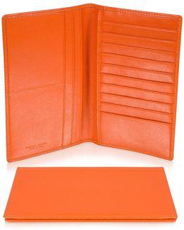 Classica Collection - Orange Calfskin Vertical Card Holder Wallet