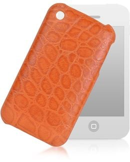 Croco-stamped Leather Iphone 3 Case