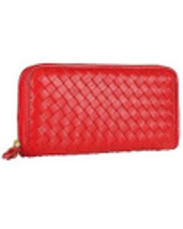 Women's Red Italian Woven Leather Concertina Zip Wallet