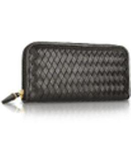 Women's Black Italian Woven Leather Concertina Zip Wallet