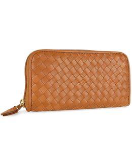 Women's Brown Italian Woven Leather Concertina Zip Wallet