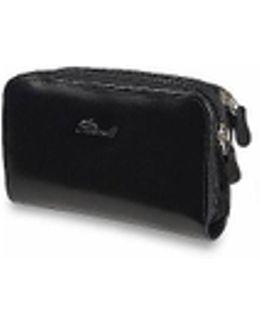 Black Polished Calf Leather Zip Wallet