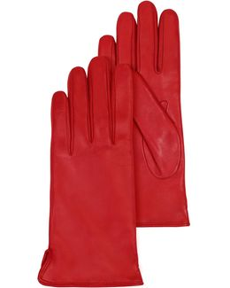 Red Leather Women's Gloves W/cashmere Lining