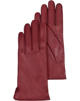 Burgundy Leather Women's Gloves W/cashmere Lining