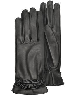 Women's Black Leather Gloves W/ Knot