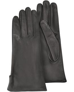 Women's Black Calf Leather Gloves W/ Silk Lining