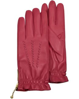 Women's Embroidered Red Calf Leather Gloves