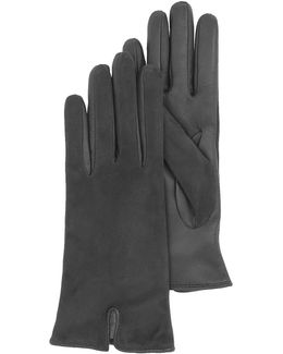 Black Touch Screen Leather Women's Gloves