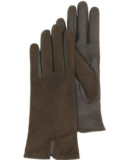 Brown Touch Screen Leather Women's Gloves