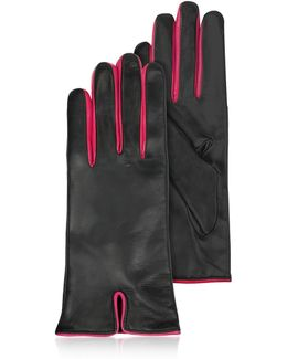 Black & Fuchsia Cashmere Lined Leather Ladies' Gloves