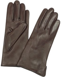 Women's Dark Brown Cashmere Lined Italian Leather Gloves