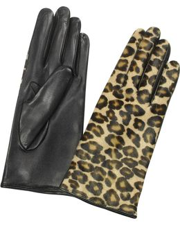 Women's Leopard Pony Hair And Italian Nappa Leather Gloves