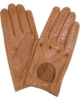Women's Tan Perforated Italian Leather Driving Gloves