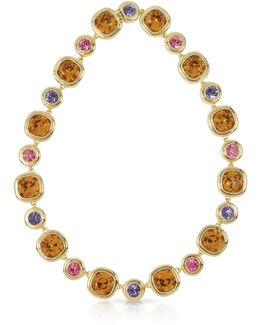 Purple Pink And Orcher Crystals Necklace