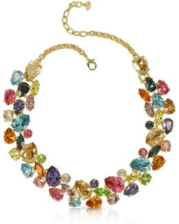 Multicolor Crystal And Metal Necklace