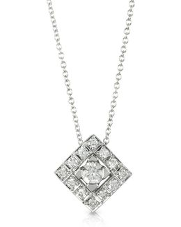 0.45 Ctw Diamond 18k White Gold Pendant Necklace