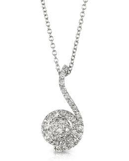 0.34 Ctw Diamond Pave 18k White Gold Pendant Necklace
