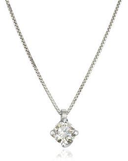 0.23 Ctw Diamond Flower Pendant 18k White Gold Necklace