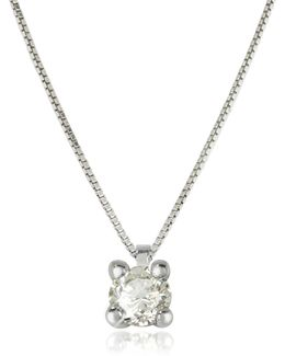 0.31 Ctw Diamond Vanity Pendant 18k White Gold Necklace