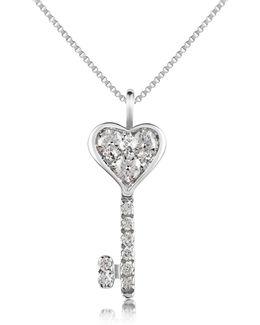 0.41 Ct Diamond Key Pendant Necklace
