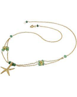 Starfish Pendant Emerald & 18k Yellow Gold Necklace