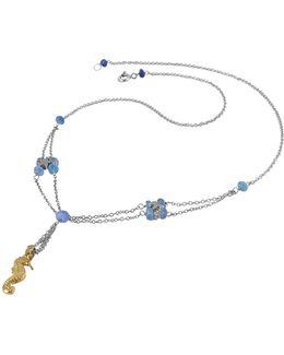 Seahorse Pendant Sapphire & 18k White Gold Necklace