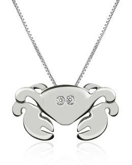 Diamond 18k Gold Crab Pendant Necklace