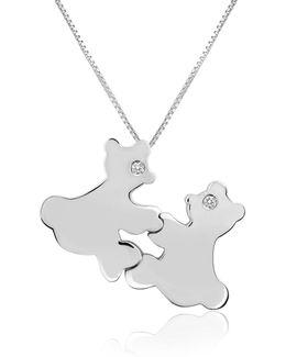 Diamond & 18k Gold Teddy Bears Pendant Necklace