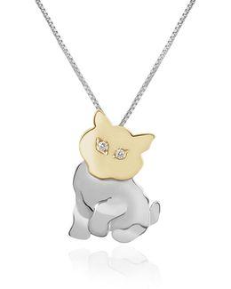Diamond & 18k Gold Cat Pendant Necklace