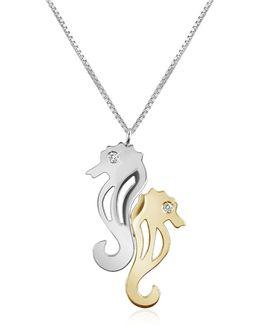 Diamond & 18k Gold Seahorses Pendant Necklace