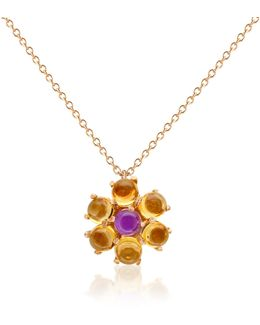 Amethyst And Citrine Flower 18k Gold Pendant Necklace