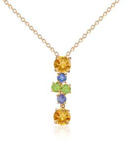 Multicolor Gemstone 18k Gold Pendant Necklace
