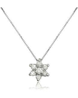 0.11 Ct Diamond Flower 18k Gold Pendant Necklace