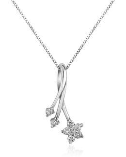 0.125 Ct Diamond Flower 18k Gold Pendant Necklace