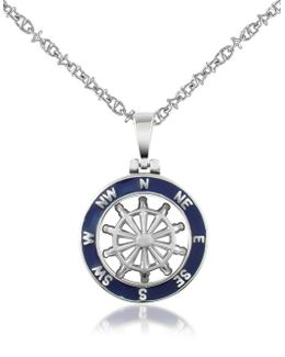 Stainless Steel Cutout Rudder Pendant Necklace