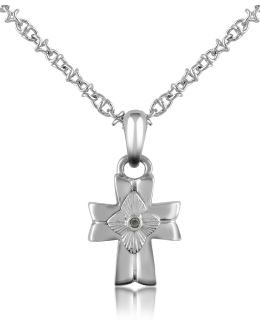 Diamond And Stainless Steel Cross Pendant Necklace