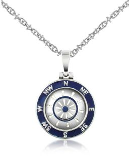 Stainless Steel Cardinal Points & Rudder Pendant Necklace