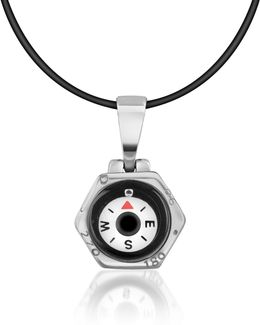 Stainless Steel Compass Pendant W/rubber Necklace