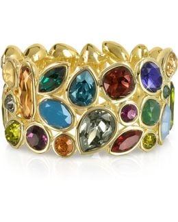 Multicolor Crystal And Metal Bangle