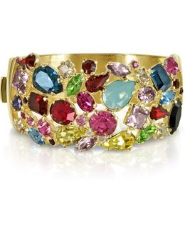 Gold Plated Metal Bangle W/crystals