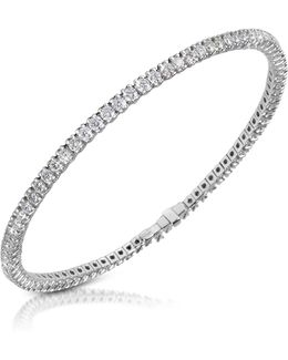 White Diamond Eternity 18k Gold Tennis Bracelet