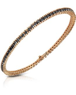 Black Diamond Eternity 18k Gold Tennis Bracelet
