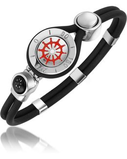 Rudder & Compass Stainless Steel And Rubber Bracelet