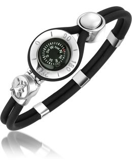 Compass Stainless Steel And Rubber Bracelet