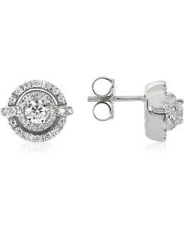 0.84 Ctw Diamond 18k White Gold Earrings