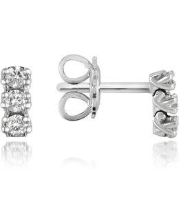 0.22 Ctw Three-stone Drop Diamond 18k Gold Earrings