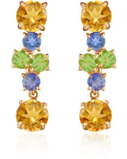 Amethyst And Citrine Flower 18k Gold Earrings