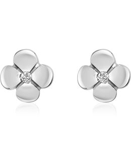 0.055 Ct Diamond Flower 18k Gold Earrings