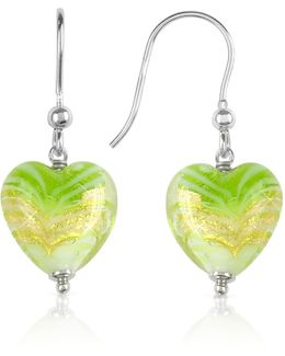 Mare - Lime Murano Glass Heart Drop Earrings